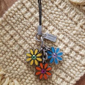 Coach Flower trio key fob phone charm keychain